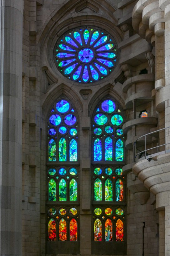 Many of the windows have a traditional gothic shape, but the imagery is non-figurative, mostly.