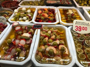 Lots of olives & other pickled vegetables & fish