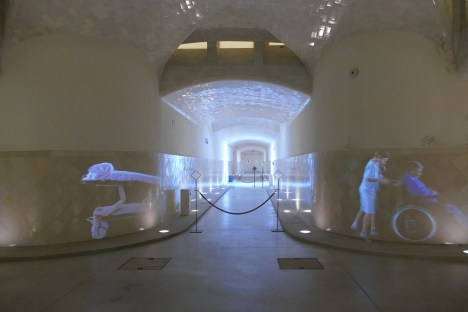 Some of the underground tunnels, with ghostly projections.