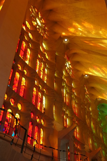 La Sagrada Familia - the light coming through the stained glass