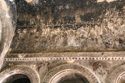 Traces of frescoes on the walls of the cathedtral