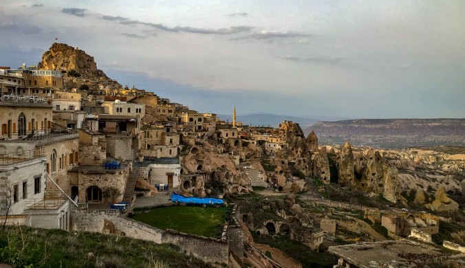 View of the town Uçhisar from the lookout. The highest point in Cappadocia.