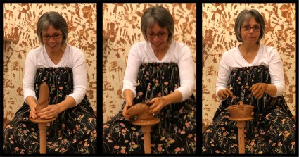 Sandra had fun attempting to make a pot, and we had fun watching.