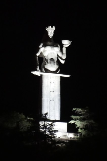 The Mother of Georgia statue looks a little bit sinister by floodlight.