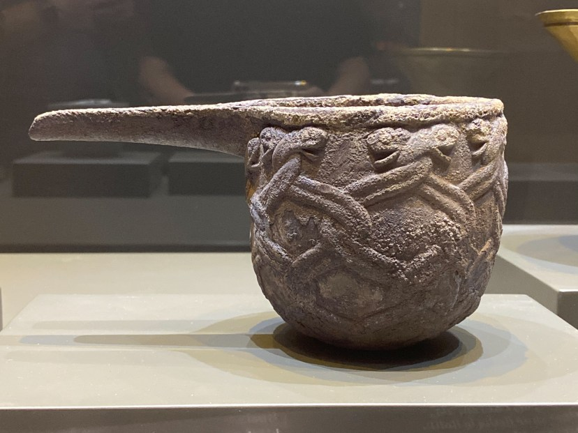Spouted silver bowl decorated with entwined serpents. Southeastern Iran Mid 3rd millennium BCE