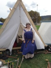 Son2's girlfriend wearing the linen dress I helped to make and another hat and apron dress which I made.