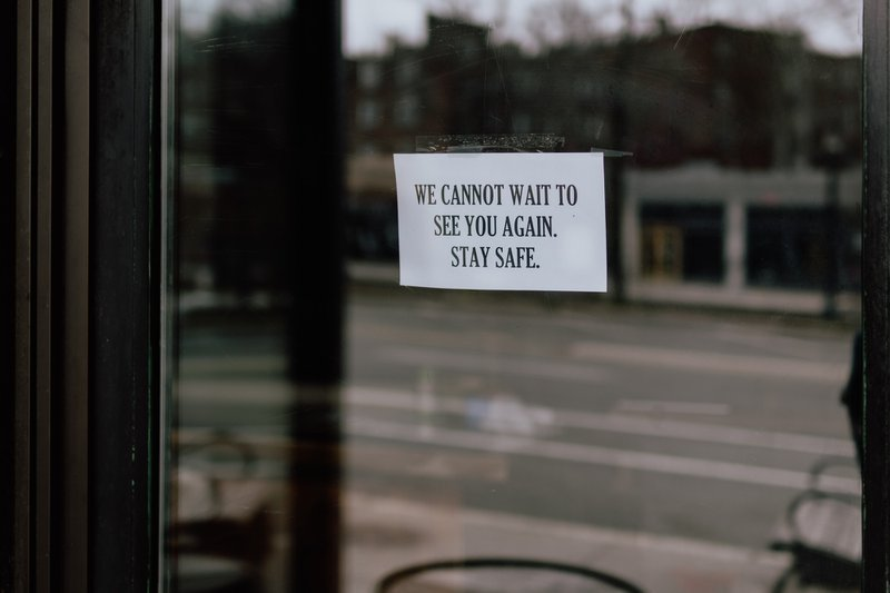 Small Business Restaurant closed sign - stay safe