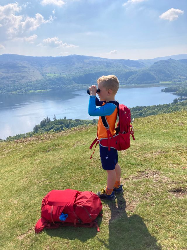 Admiring the views over Derwent Water from Cat Bells