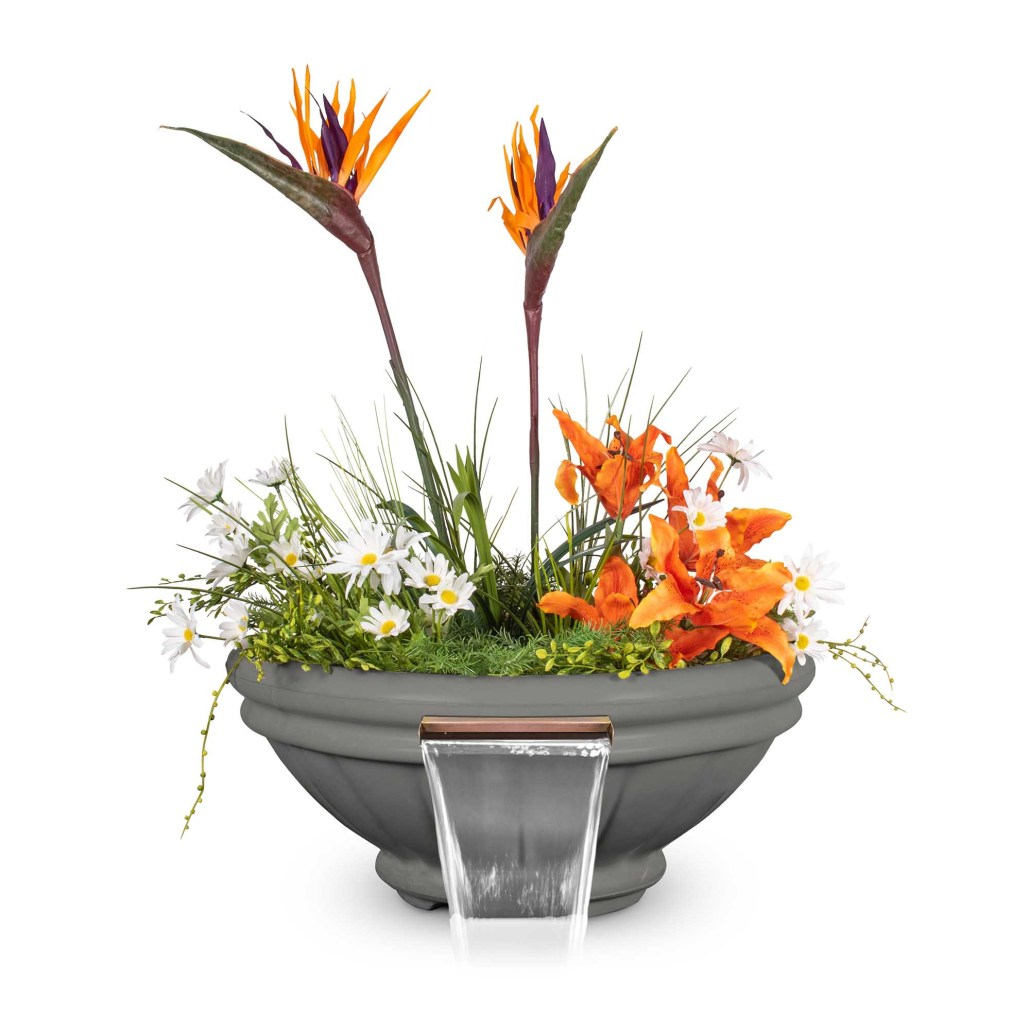 Roma GFRC Planter Water Bowl - Natural Gray