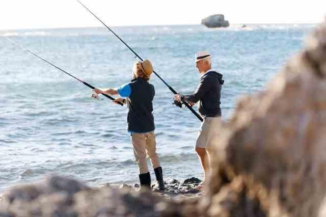fishing at seaside