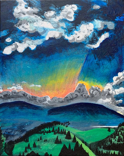 Silverthorne, Colorado mountain sunrise acrylic painting on canvas