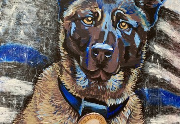 "18"" x 24"" police dog portrait memorial"
