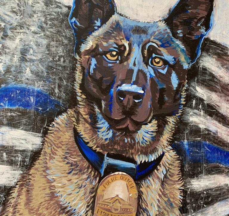 "18"" x 24"" police dog portrait memorial"