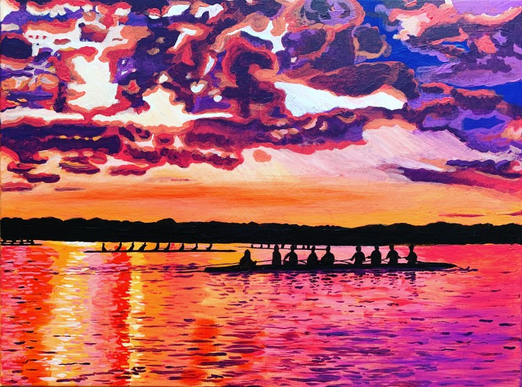 Landscape painting of rowing teams at sunset