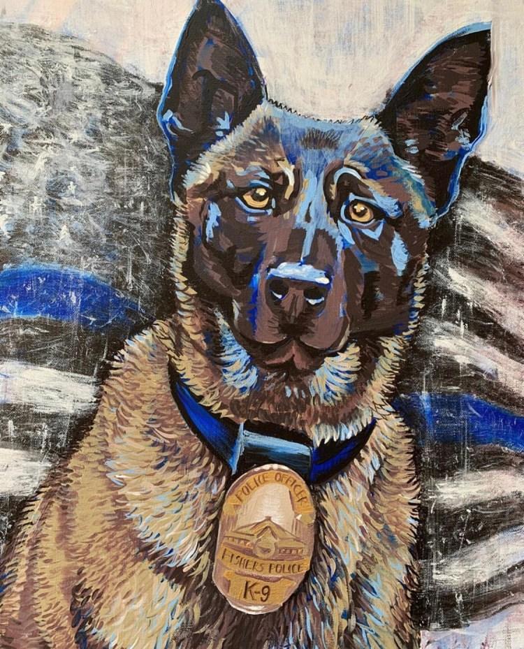 Portrait of late Belgian Malinois K-9 police dog