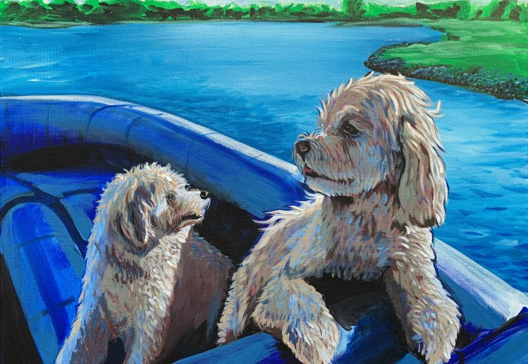 """18"""" x 24"""" Painting of two dogs on a boat"""