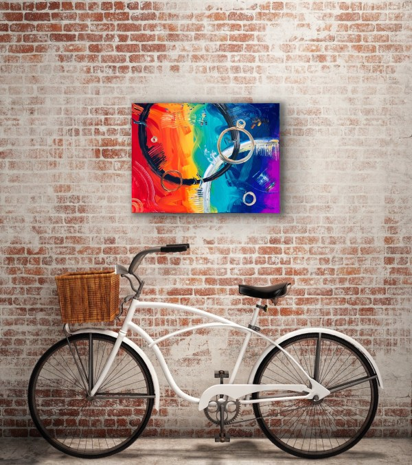 abstract painting on brick wall