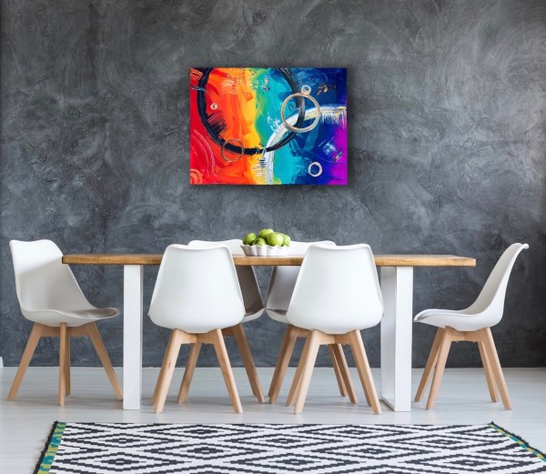 abstract painting on dining room wall