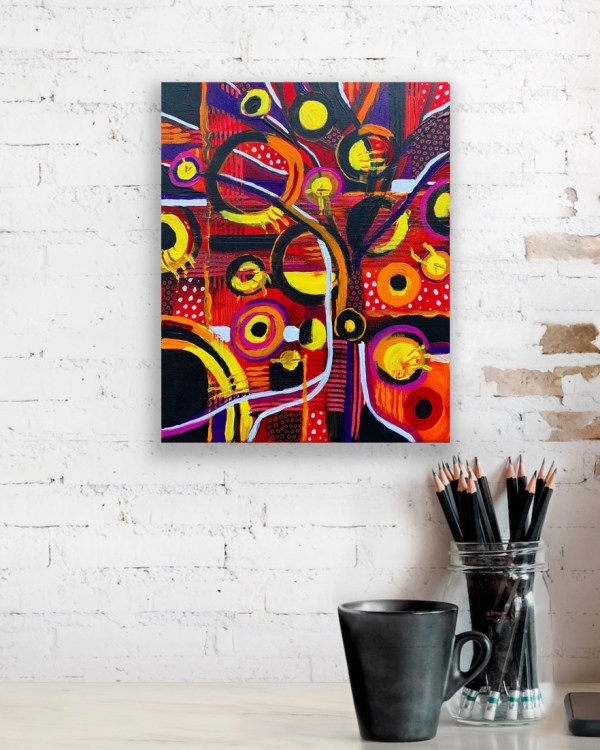 """Preview of 11' x 14"""" abstract painting on canvas on brick wall"""