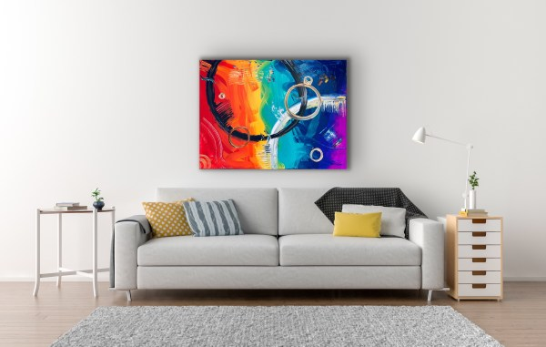 abstract painting above couch