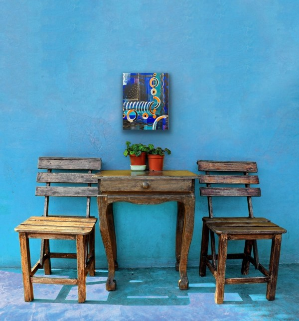 """Preview of 11"""" x 14"""" abstract painting above table and chairs"""