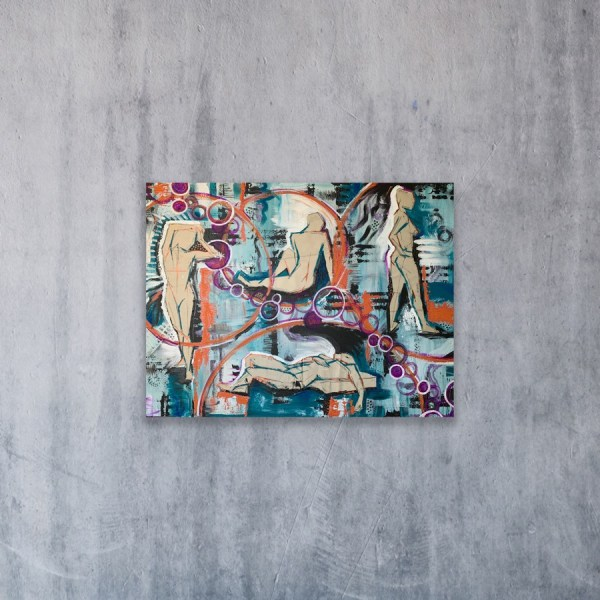 mixed media abstract art on concrete wall