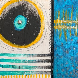 turquoise black and yellow abstract painted wood block wall art