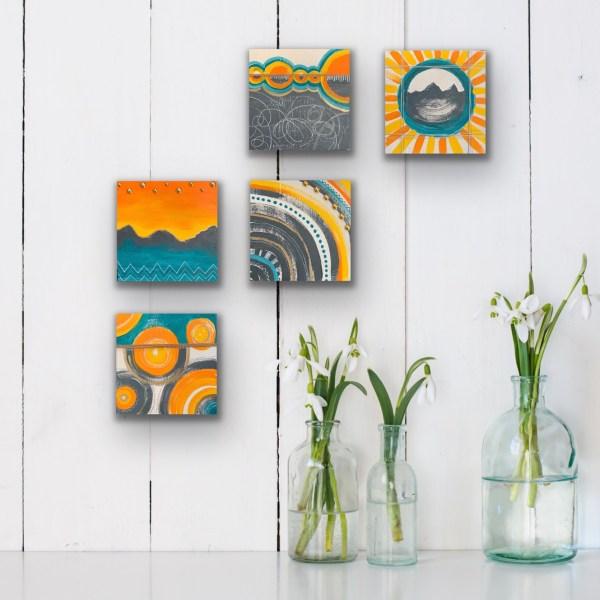 Wood block wall art collage
