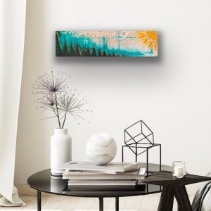 abstract landscape painted wood block wall art