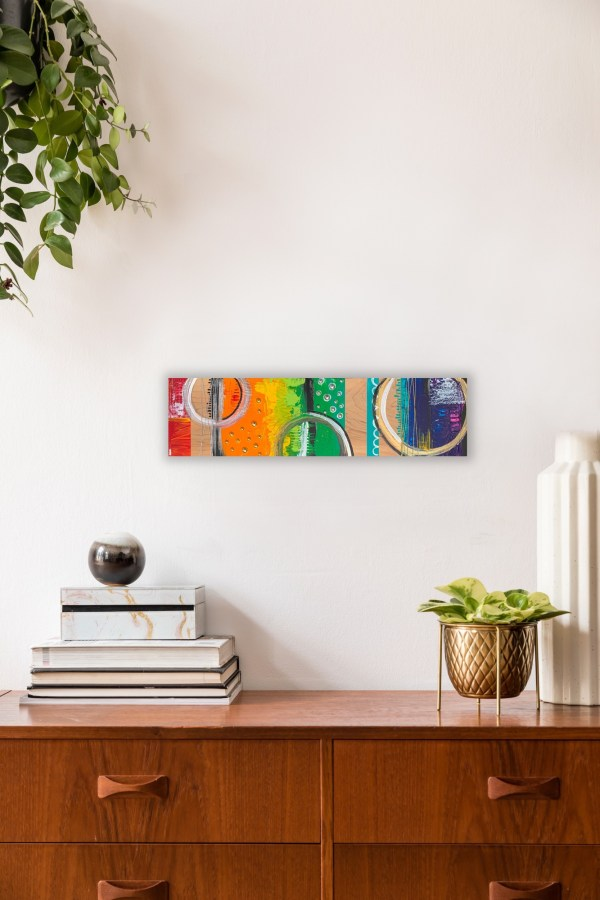 abstract wood block wall art on wall above shelf