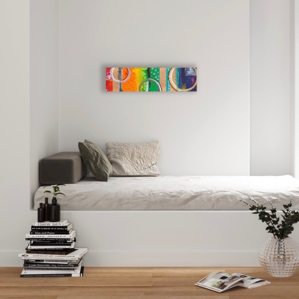 abstract wood block wall art in reading nook
