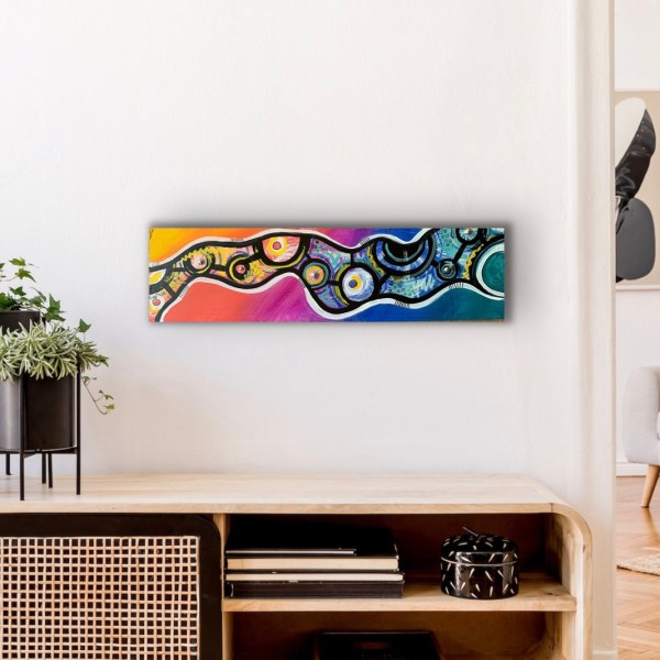 abstract wood block wall art above desk