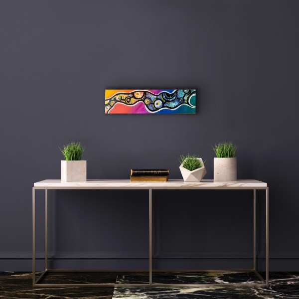 abstract wood block wall art above table