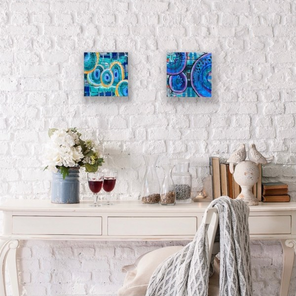 pair of abstract painted wood block wall art