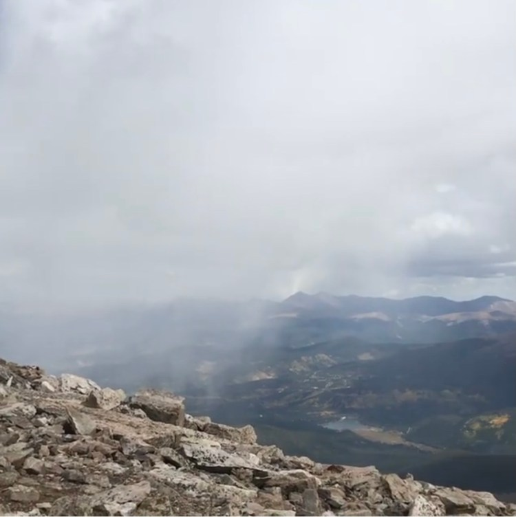 Snowstorm moving in on Quandary Peak