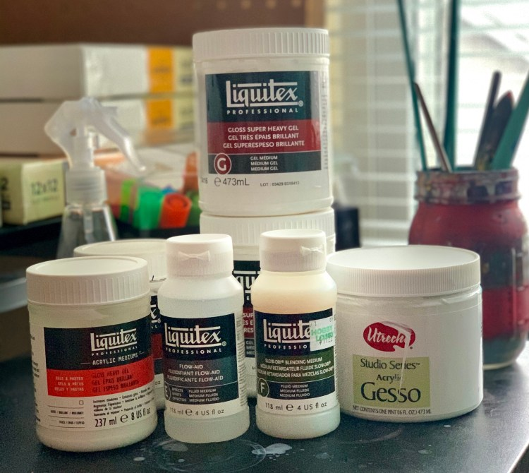 acrylic mediums I use in my studio