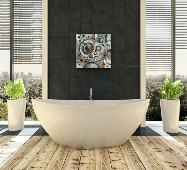 Mixed media abstract painting above bathtub