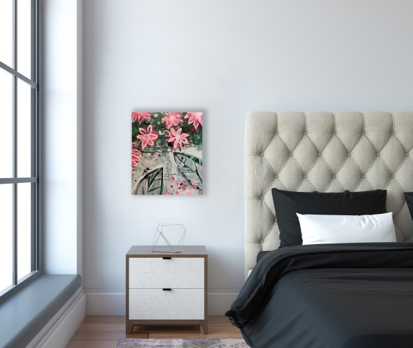floral abstract painting above nightstand
