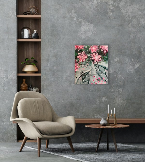 floral abstract painting on wall