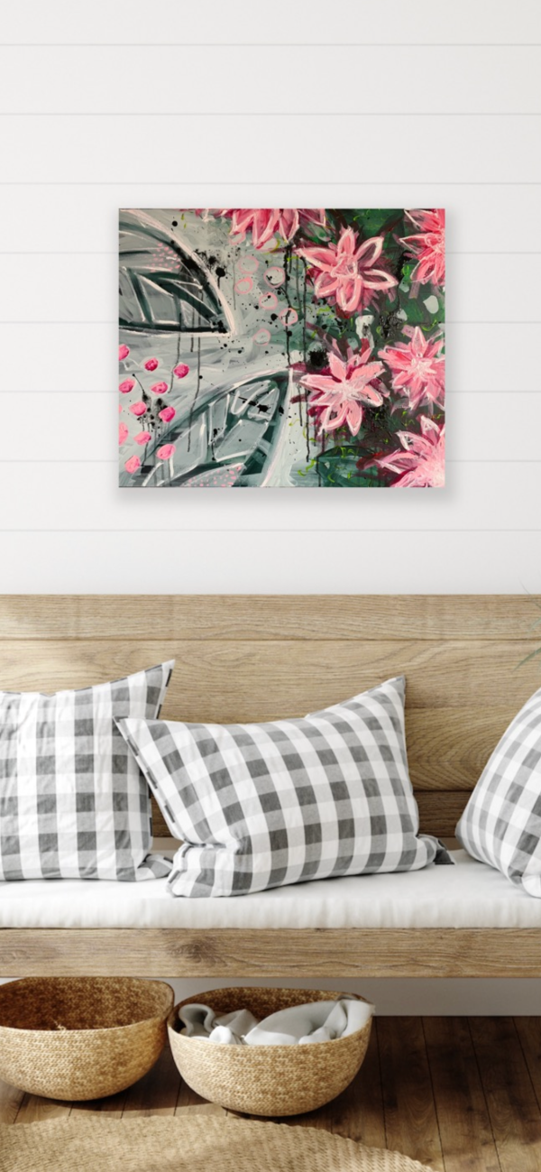 floral abstract painting above bench