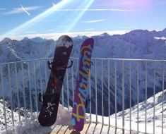 Cool Snowboards and a Scenic Mountainous View
