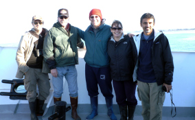 Aboard the Point Sur; left to right: Mike Westphal, Steve Morey (me), Giacomo Bernardi, Karen Crow, and Luiz Rocha