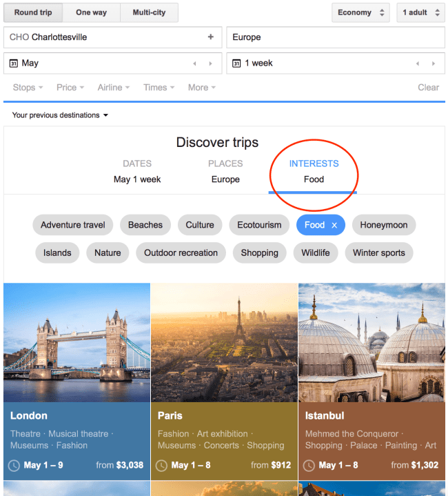 Open-Ended Interest Search - Google Flights 101
