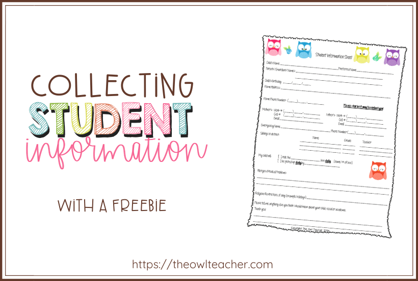 Collecting Student Information: It's critical to collect student information in a binder for a substitute or for classroom management. This post provides you with the perfect form to collect vital information about your students for your organized binder - and it's FREE!