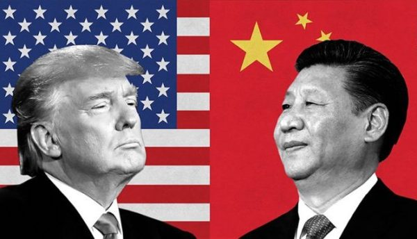 Donald Trump faces off against Chinese President Xi Jinping. Each has his country's flag behind him.