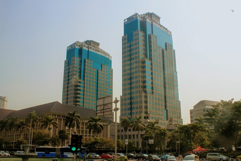 Two towers in the city of Jakarta, Indonesia.