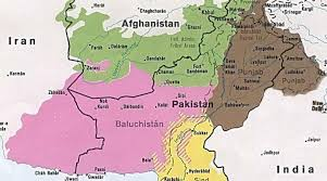 A map of Pakistan, showing its four regions in various colors. Balochistan is shaded in pink in the southwest.