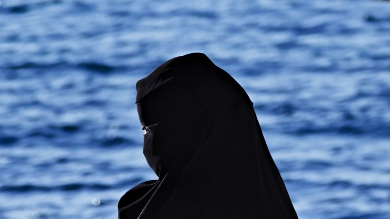 A veiled woman in hijab stands before an ocean.