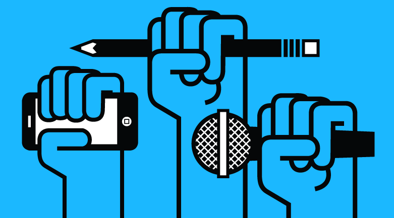 Stylized hands hold a smartphone, a pencil, and a microphone aloft against a bright blue background.