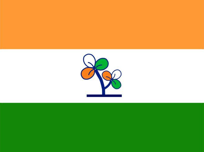 The Trinimool Congress logo, a pair of clovers, on an Indian flag.